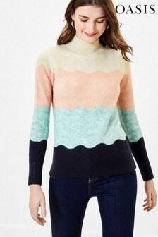 Oasis Wavy Stripe Knit Jumper