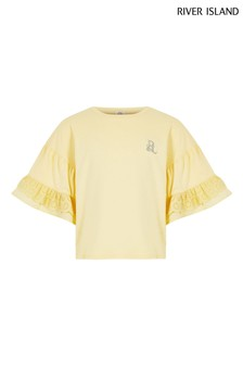 River Island Yellow Light Broderie Sleeve T-Shirt