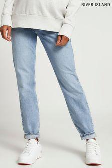 River Island Denim Maternity Overbump Comfort Mom Jeans