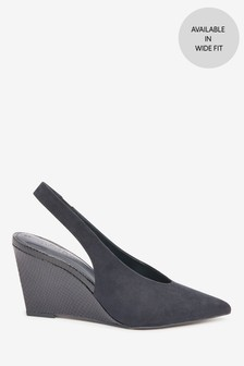 Point Toe Slingback Wedges