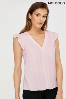 Monsoon Pink Nessa Sustainable Viscose Blouse