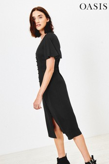 Oasis Black Melanie Button Through Midi Dress