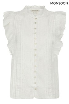 Monsoon Cream Elizabeth Embroidered Jersey Top