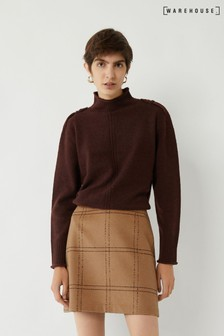 Warehouse Brown Windowpane Mini Pelmet Skirt
