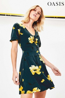Oasis Green Rose Print Skater Dress
