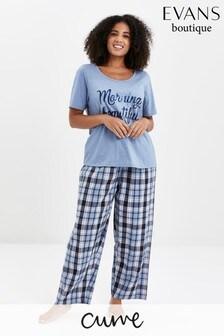 Evans Curve Blue Check Pyjama Set