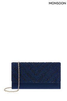 Monsoon Navy Hannah Heat Seal Occasion Clutch Bag