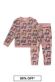 Girls Pink Fleece Happy Notes Tracksuit