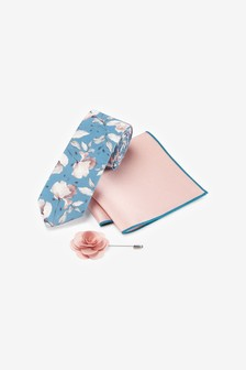 Floral Tie Pocket Square And Lapel Pin Set
