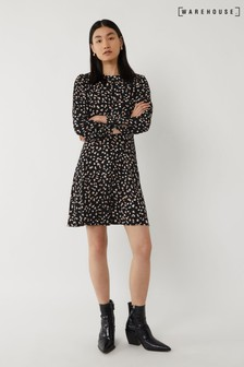 Warehouse Black Spaced Petal Print Mini Dress