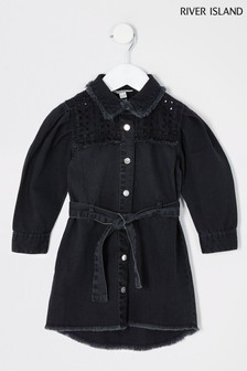 River Island Black Cutwork Shirt Dress