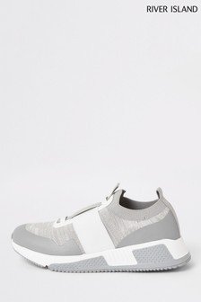 River Island Grey Fly Knit Runner Straps Shoes