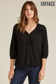 FatFace Black Beatrice Star Jacquard Blouse