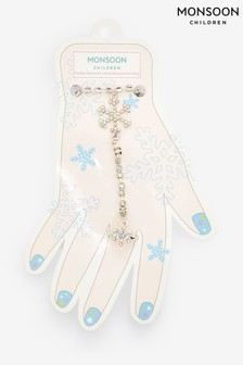 Monsoon Frosted Snowflake Choker And Linked Bracelet Set