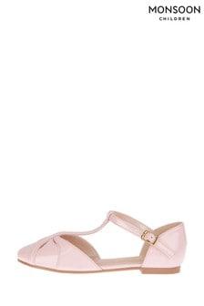 Monsoon Pink Patent Flat Shoes