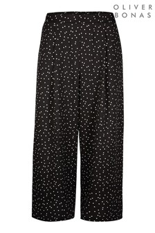 Oliver Bonas Black Polka Dot Cropped Culottes