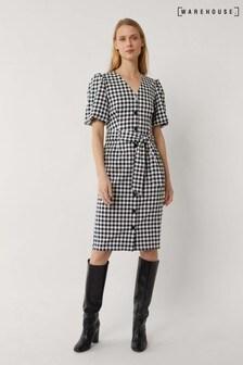 Warehouse Black Gingham Puff Sleeve Midi Dress