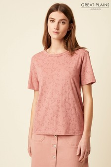 Great Plains Pink Emilia Burnout Round Neck Top