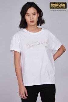 Barbour® International White Script Logo Cadwell T-Shirt