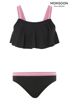 Monsoon Black Storm Elastic Frill Bikini Set