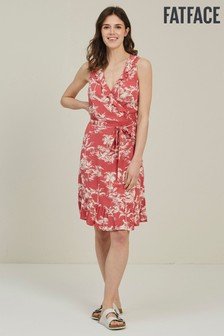 FatFace Red Martha Flamingo Wrap Dress