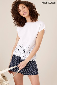 Monsoon Natural Lila Broderie T-Shirt in Organic Cotton