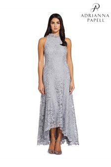 Adrianna Papell Grey Metallic Lace Gown