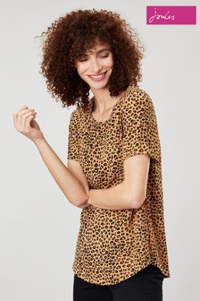 Joules Brown Cleo Tan Leopard Print Shell Top