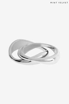 Mint Velvet Silver Tone Molten Double Ring Set