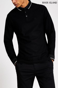 River Island Black Tipped Pique Neck Polo