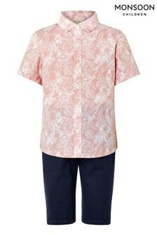 Monsoon Pink George Shirt And Short Set