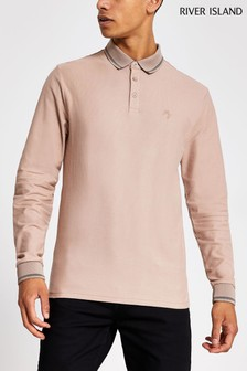 River Island Stone Tipped Pique Neck Polo