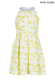 River Island Yellow Lace Prom Smart Dress