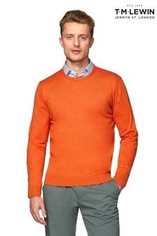 T.M. Lewin Parker Supima® Cotton Silk Slim Fit Orange Crew Neck Jumper