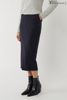 Warehouse Blue Pinstripe Pencil Midi Skirt