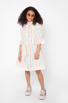 Girls Multicoloured Cotton Blend Dress