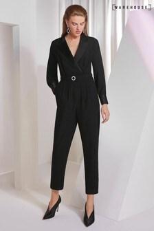Warehouse Black Tuxedo Jumpsuit