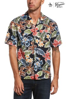 Original Penguin Blue Short Sleeve Floral Cabana Shirt
