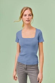 Square Neck Cap Sleeve Top