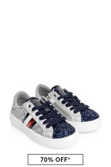 Girls Silver Glitter Trainers