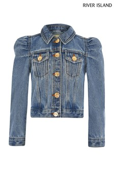 River Island Blue Puff Sleeve Denim Jacket