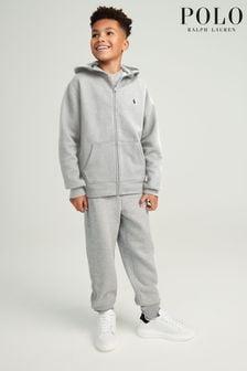 Ralph Lauren Grey Zip Up Logo Hoodie