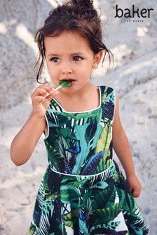 Baker by Ted Baker Green Scuba Leaf Print Dress