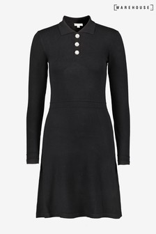 Warehouse Black Embellished Button Dress