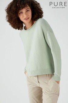 Pure Collection Green Cotton Dipped Hem Textured Sweater