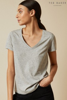 Ted Baker Grey Emyila V-Neck Loose Fitted T-Shirt