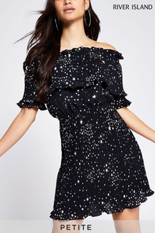 River Island Black Star Print Pleat Bardot Dress