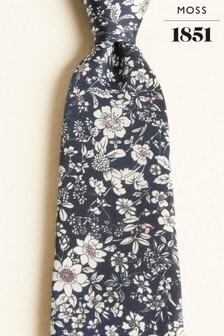 Moss 1851 Navy With Pink & White Flower Print Silk Twill Tie
