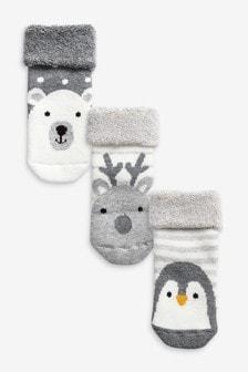 3 Pack Christmas Penguin Socks (Newborn)