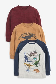 3 Pack Dinosaur Long Sleeve T-Shirts (3-14yrs)